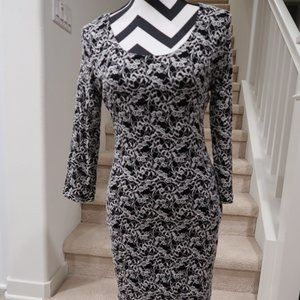 3/4 Sleeve Fitted Dress with Lace overlay